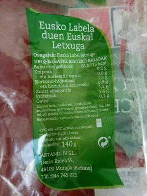 Lechuga Eusko Label - Voedigswaarden