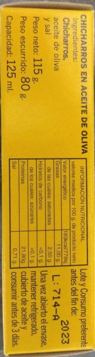 Chicharros en aceite de oliva - Información nutricional - es