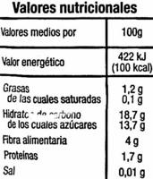 """Granos de granada congelados """"Auchan"""" - Información nutricional"""