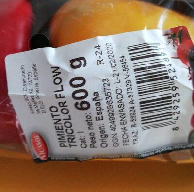 Pimiento tricolor - Nutrition facts - es