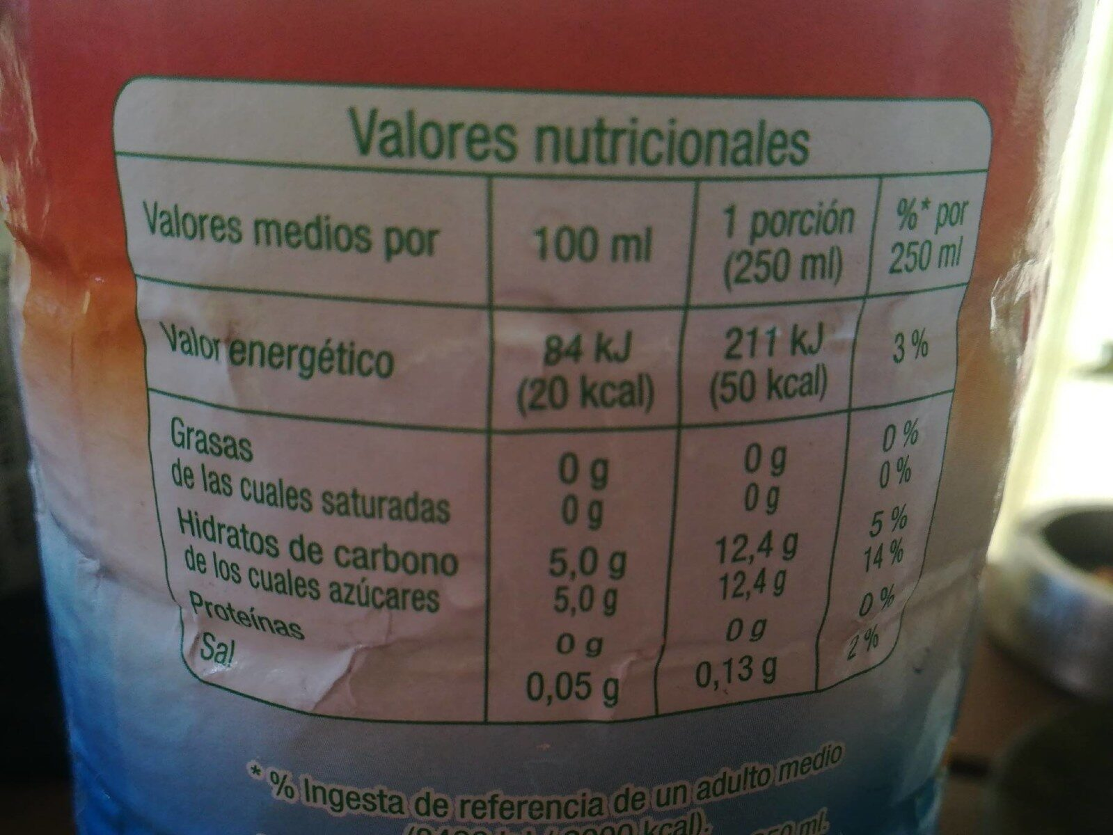 Refresco tropical sin gas - Nutrition facts - es