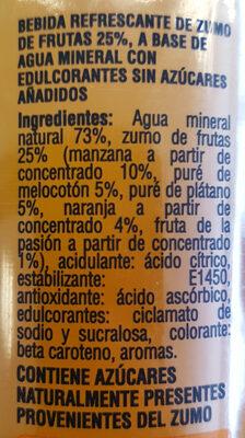 aguan mineral y zumo de frutas - Ingredientes - es