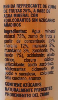 Agua mineral y zumo de frutas - Ingrédients - es