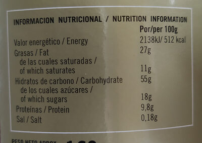 Tejas y cigarillos de Tolosa - Nutrition facts - fr