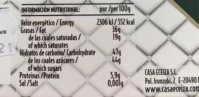 Chocolate y almendras caramelizsdas - Informations nutritionnelles