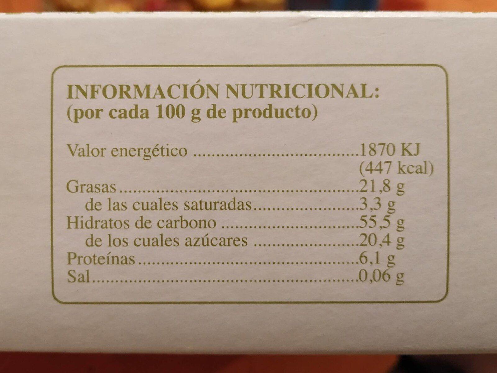 Pastas de romero - Nutrition facts - es