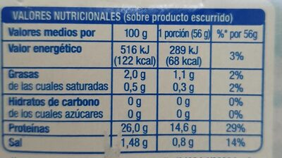 Atún claro al natural - Informations nutritionnelles - es