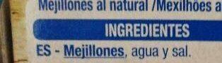 Mejillones al natural - Ingredientes