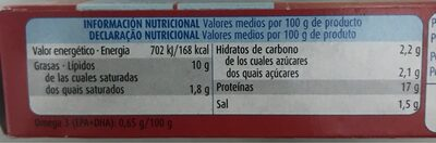 Sardinas en tomate - Informations nutritionnelles - es
