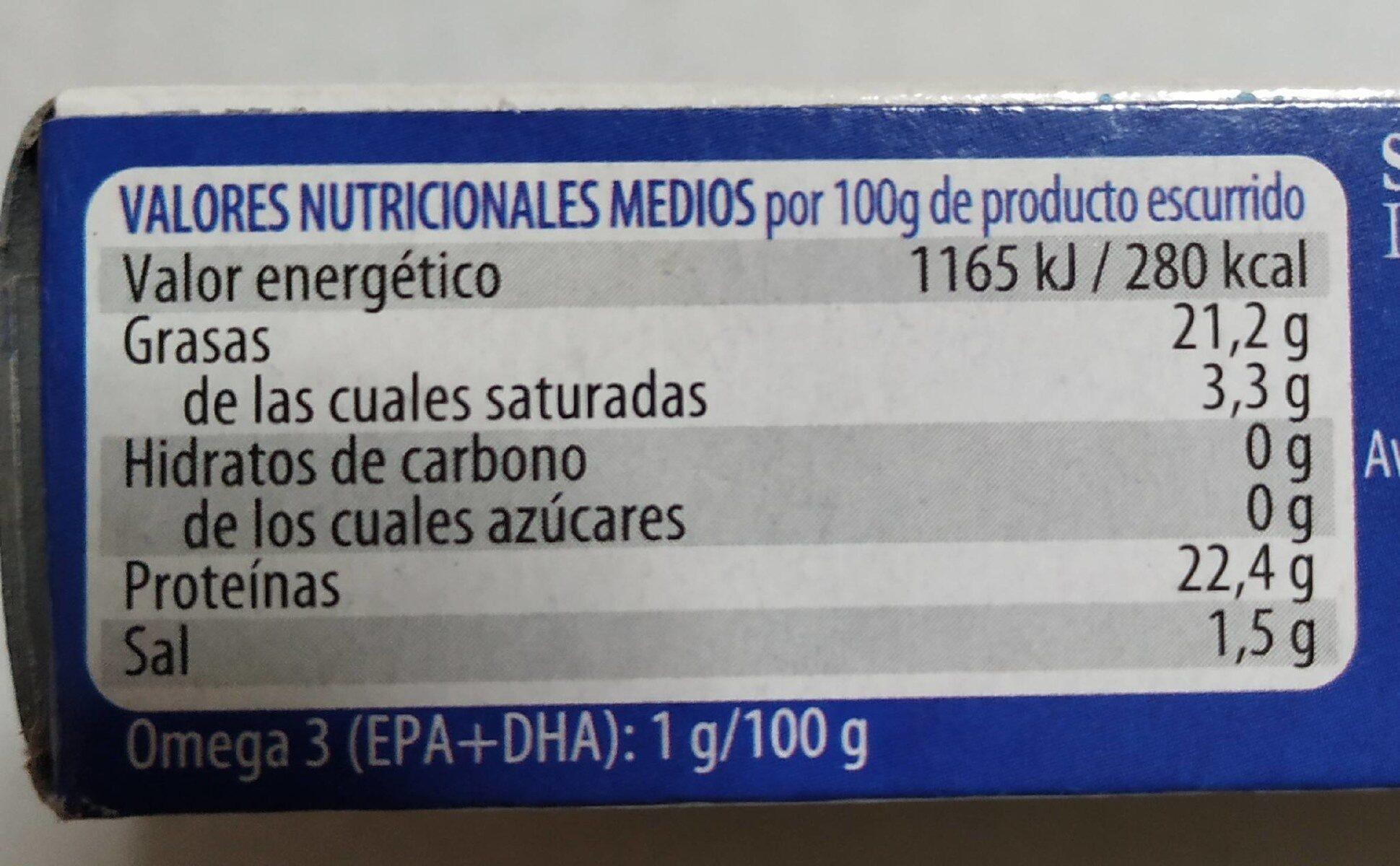 Sardinas en aceite de oliva - Informations nutritionnelles - es