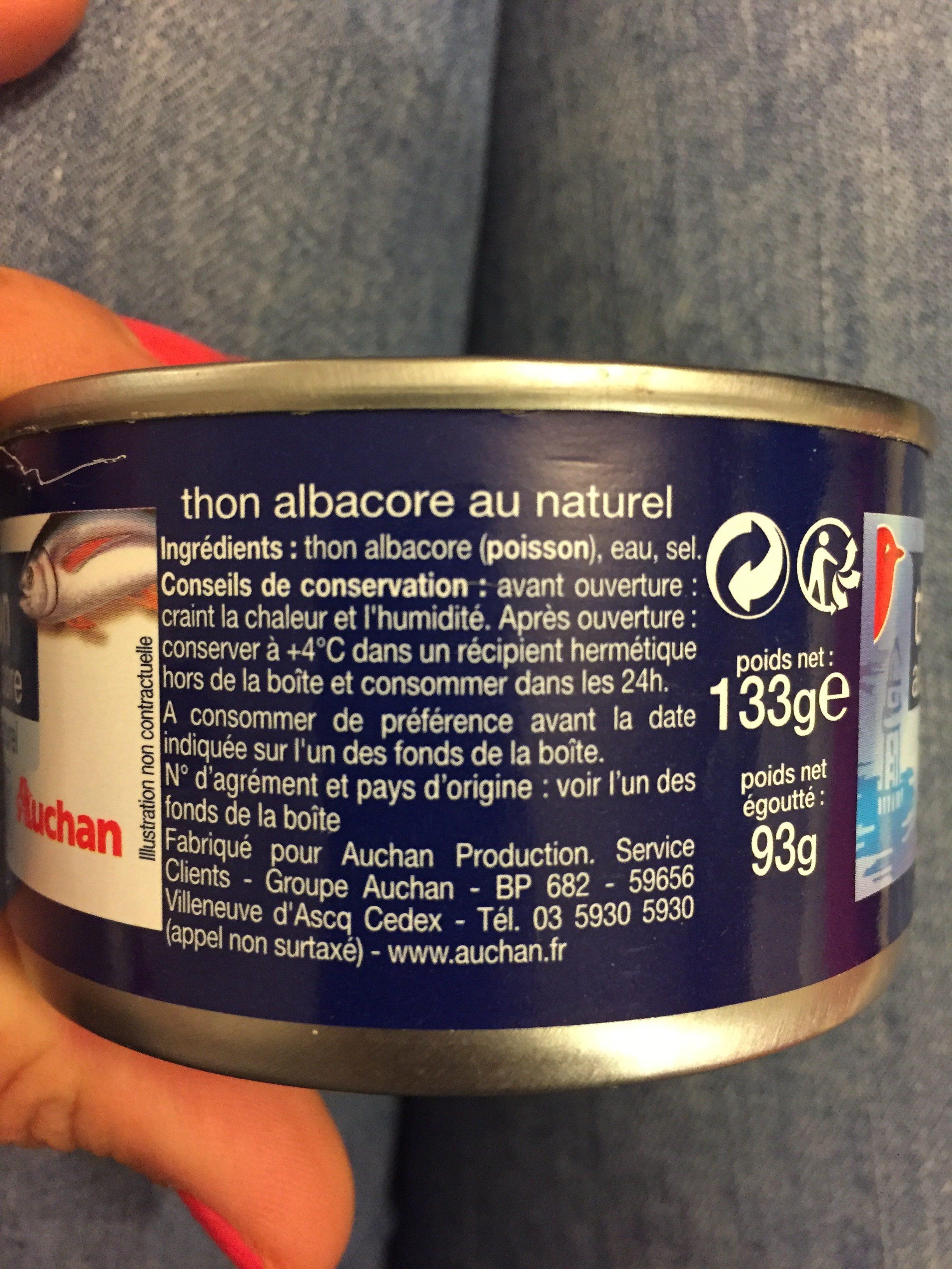 Thon Albacore au Naturel - Ingrédients