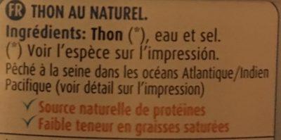 Thon au naturel - Ingredienti - fr