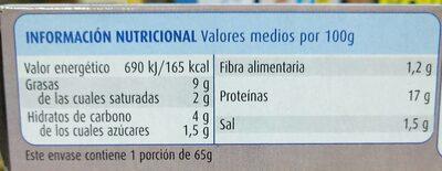 Mejillones en salsa de vieira - Información nutricional