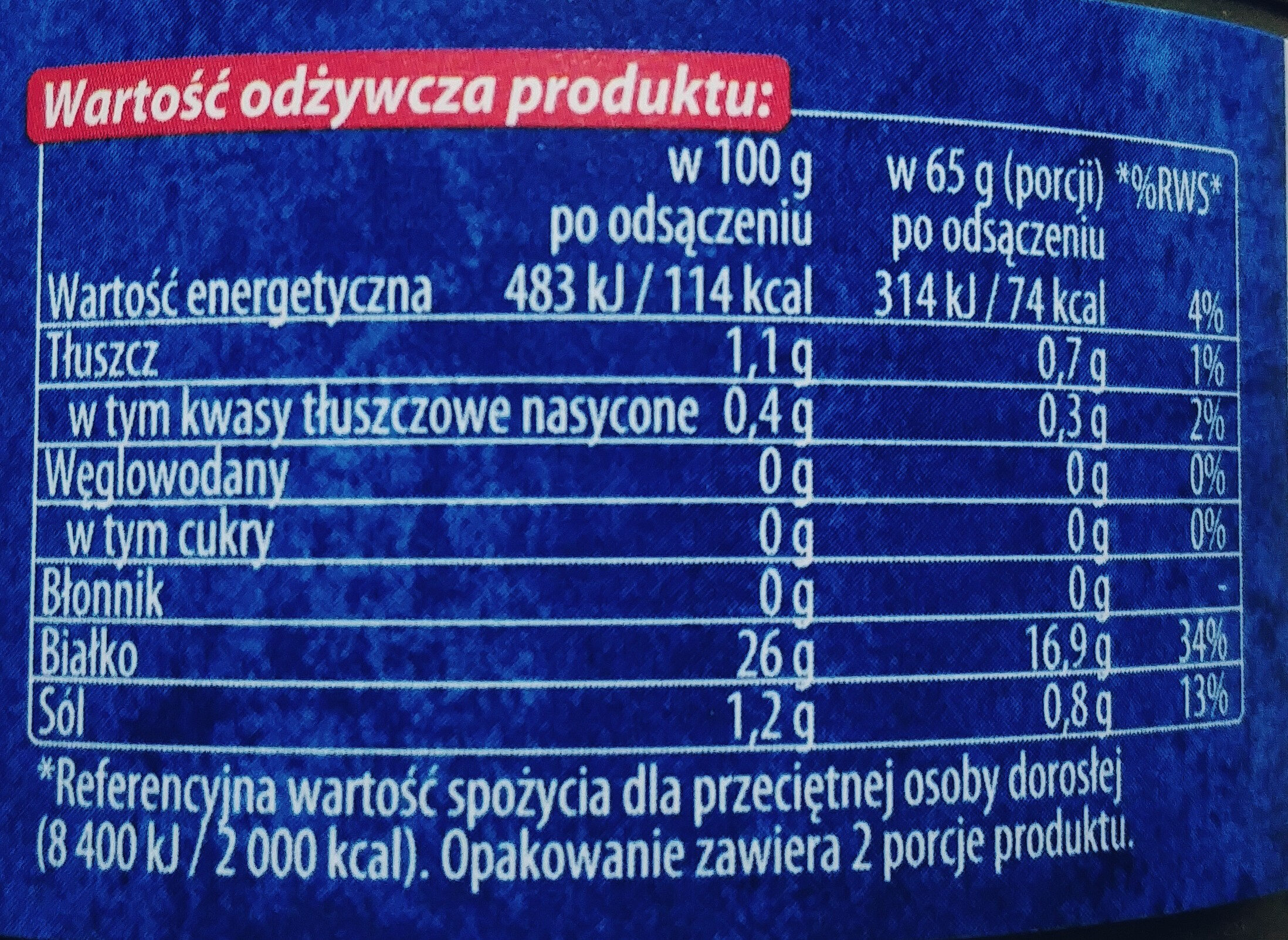 Tuńczyk kawałki w sosie własnym - Wartości odżywcze