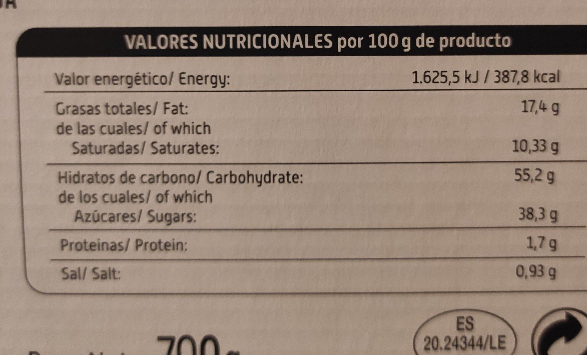Hojaldres Elaboracion Artesana - Nutrition facts - es