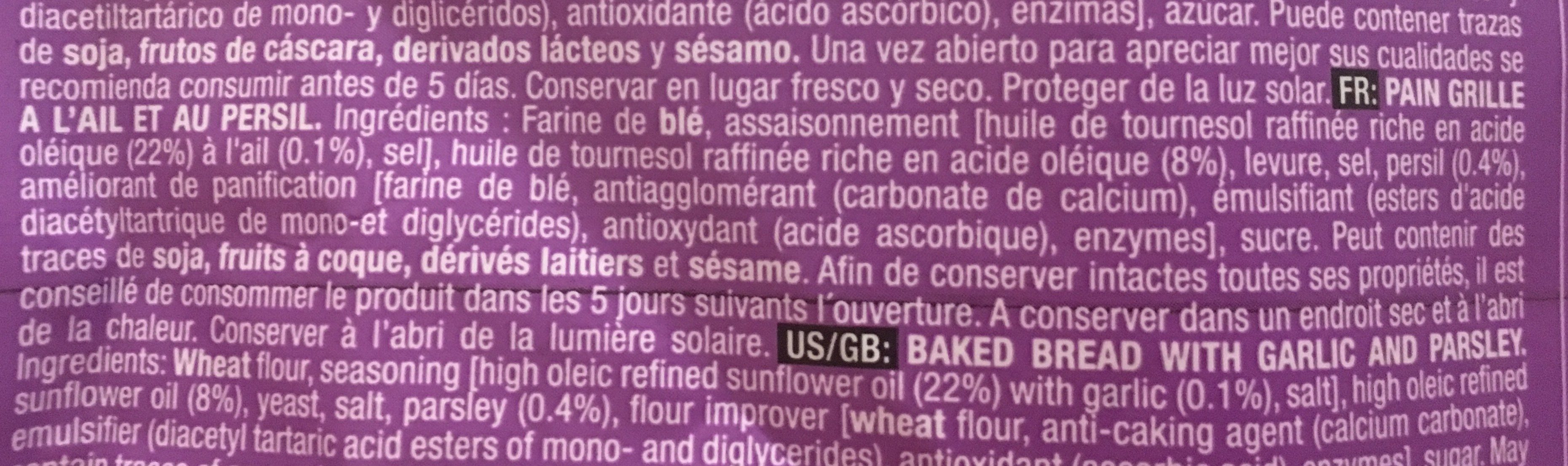 Pan con ajo garlic bread - Ingredients
