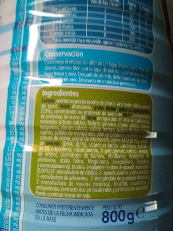 Nutriben Natal 1 Pro Alfa 800G - Ingrediënten