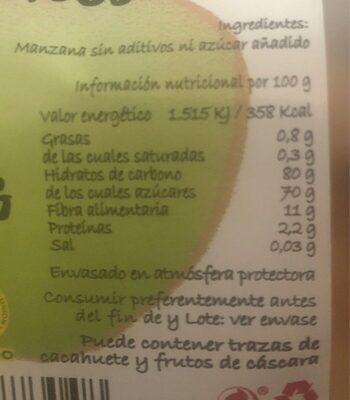 Chips de manzana ecológicos - Información nutricional - es
