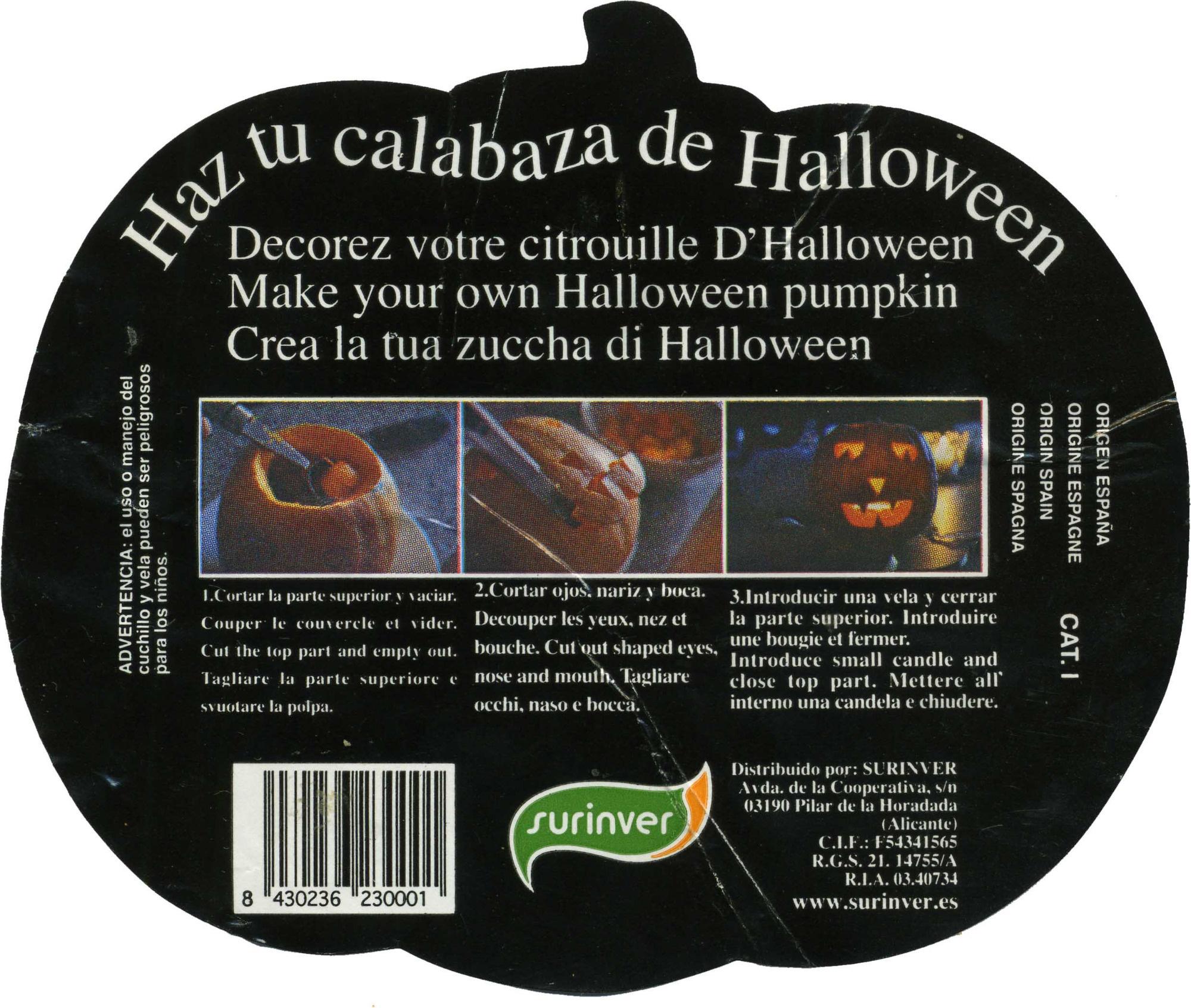 Calabaza de Halloween - Ingredients