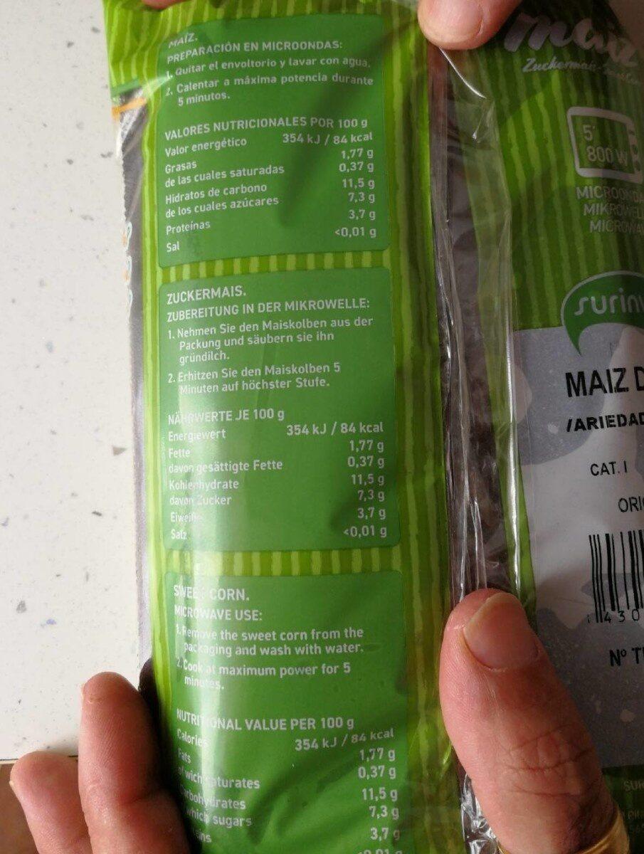 Maiz fresco - Informació nutricional - es