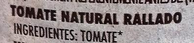 Tomate Natural Rallado - Ingredientes
