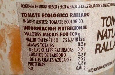 Tomate Natural Rallado - Información nutricional - es