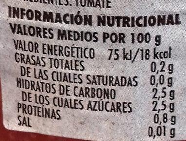 Tomate Natural Rallado - Información nutricional