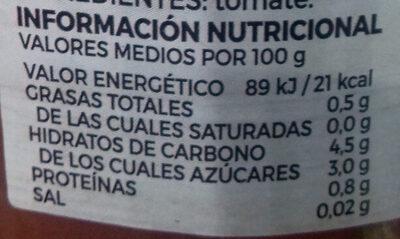 Tomate Rallado Natural - Información nutricional