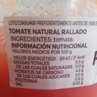 Tomate Rallado Natural - Voedingswaarden - es