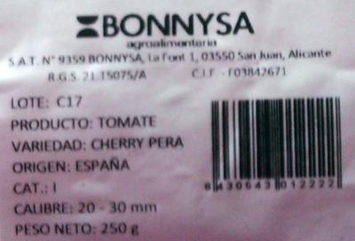 Tomates cherry pera - Ingredients