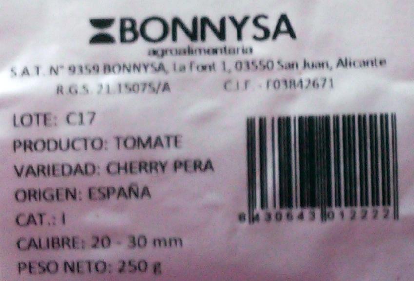 Tomates cherry pera - Ingredientes - es