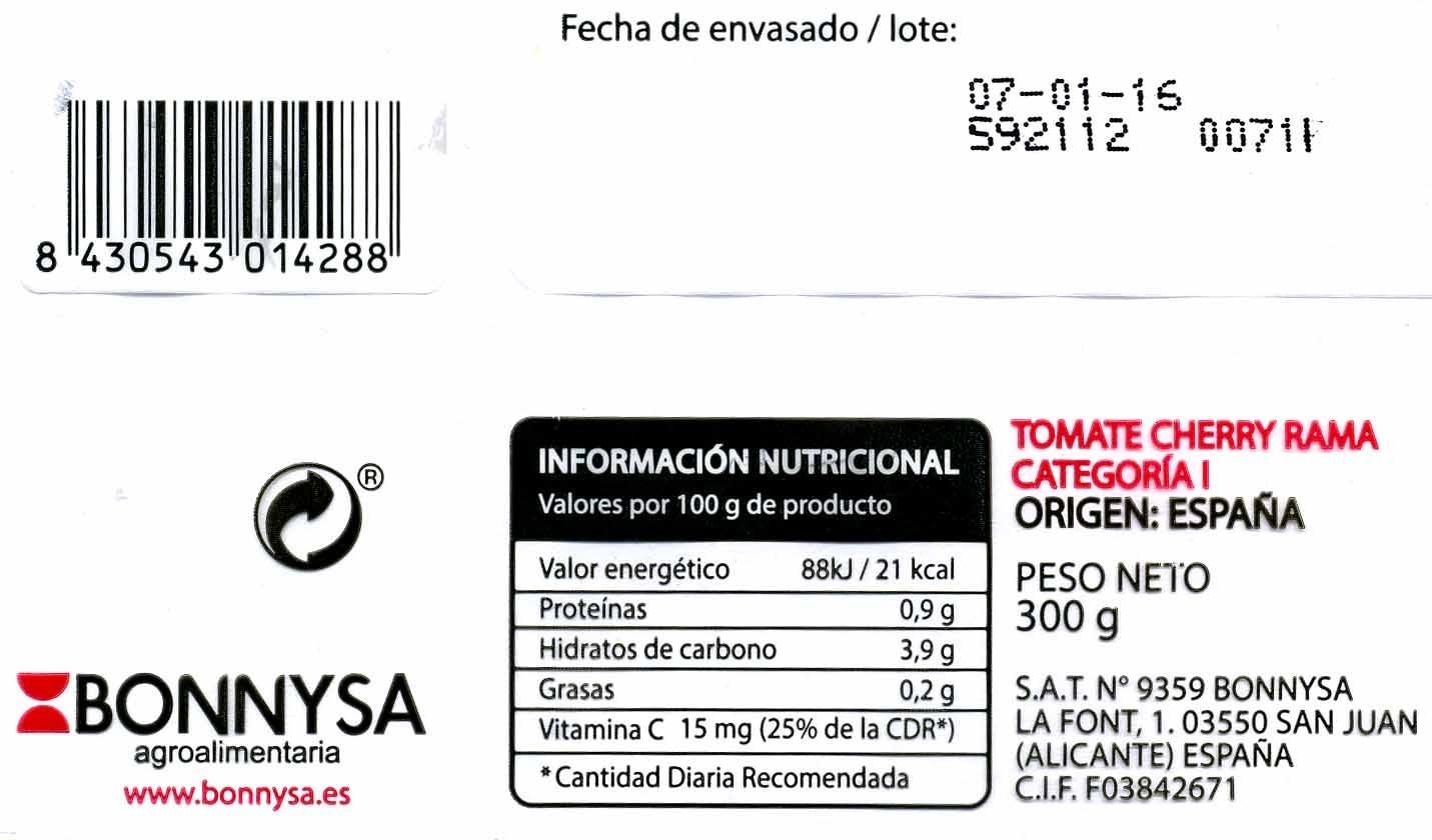 Tomates cherry en rama - Ingredients - es
