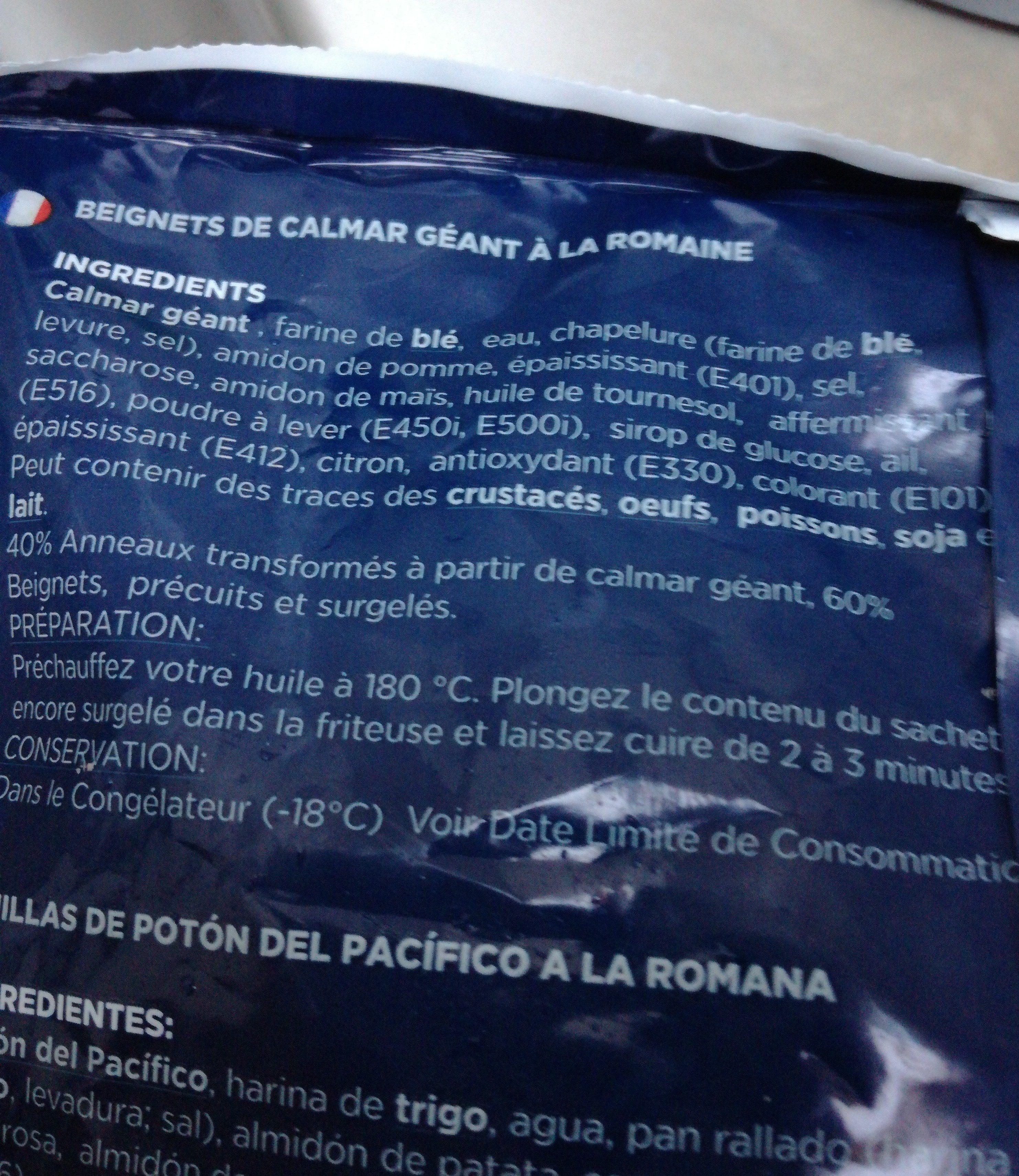 Beignets calmar à la romaine - Ingrédients - fr