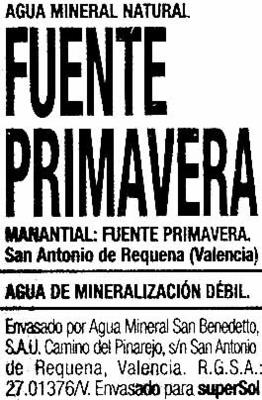 Agua mineral natural - Ingrédients