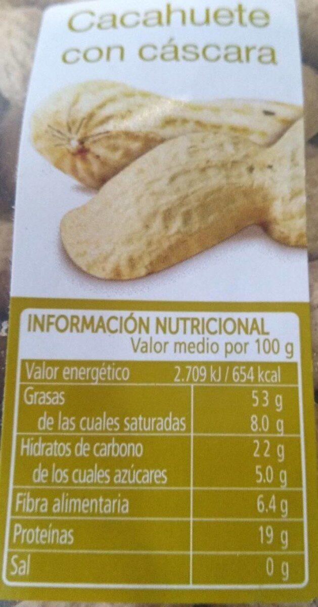 Cacahuete con cáscara - Informations nutritionnelles - es