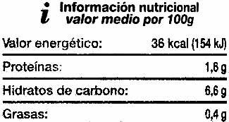 """Cebollitas encurtidas """"SuperSol"""" - Información nutricional - es"""