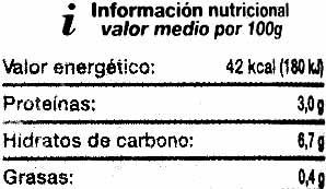 """Guindillas encurtidas """"SuperSol"""" - Información nutricional - es"""