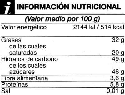 Chocolate fondant extrafino negro 48% cacao - Nutrition facts - es