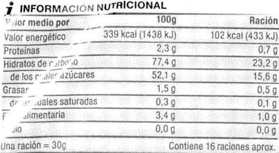 """Higos secos """"SuperSol"""" - Información nutricional"""