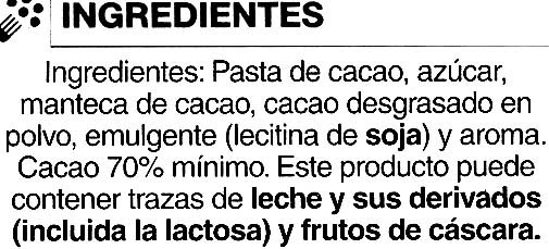 Tableta de chocolate negro 70% cacao - Ingrédients - es