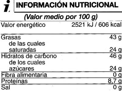Tableta de chocolate negro 70% cacao - Informations nutritionnelles - es