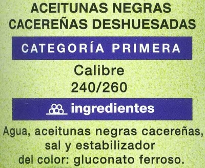 Aceitunas negras cacereñas deshuesadas - Ingrédients - es