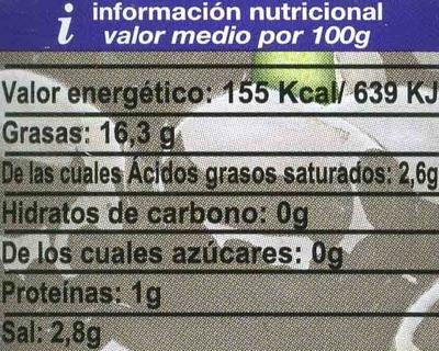 Aceitunas negras cacereñas deshuesadas - Informations nutritionnelles - es