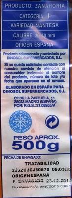 """Zanahorias """"SuperSol"""" - Informació nutricional"""