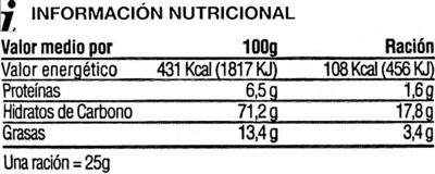 Gusanitos maiz horneado - Informació nutricional