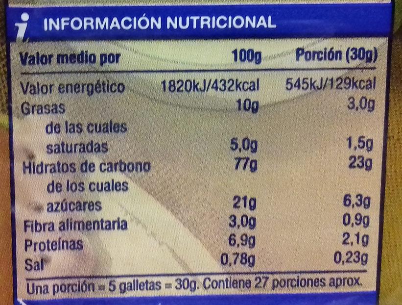 Galletas Tostadas - Voedingswaarden