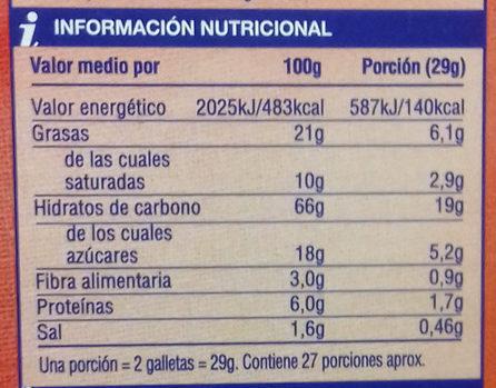 Galletas Digestive Supersol - Información nutricional - es
