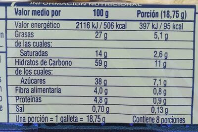 Cookies - Informació nutricional - es