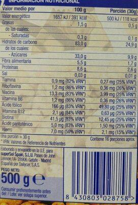 Trigo inflado - Informations nutritionnelles - es