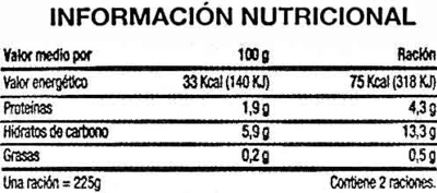 "Salteado de verduras congelado ""SuperSol"" - Nutrition facts"